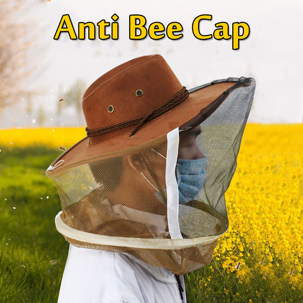 Professional Beekeeping Hat Anti Mosquito Bee Veil Full Face Neck Wrap Protector