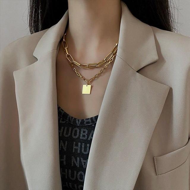 trendy geometric square necklace 1