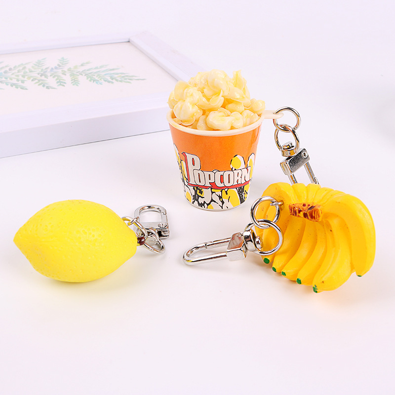 Dayoff Creative Popcorn Banana Lemon Keychains Keyring For Women Car Key Holder Pendant Simulation Food Accessories K88