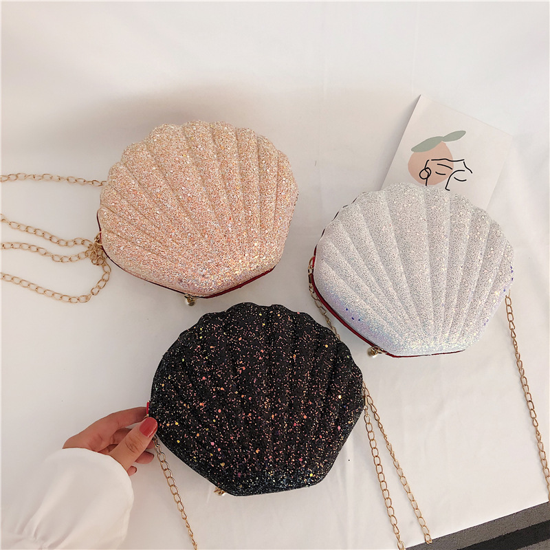 SHUJIN Cute Sequins Small Shell Bag Shoulder Handbags Phone Money Pouch Chain Crossbody Bags For Women Girl Chain Bags