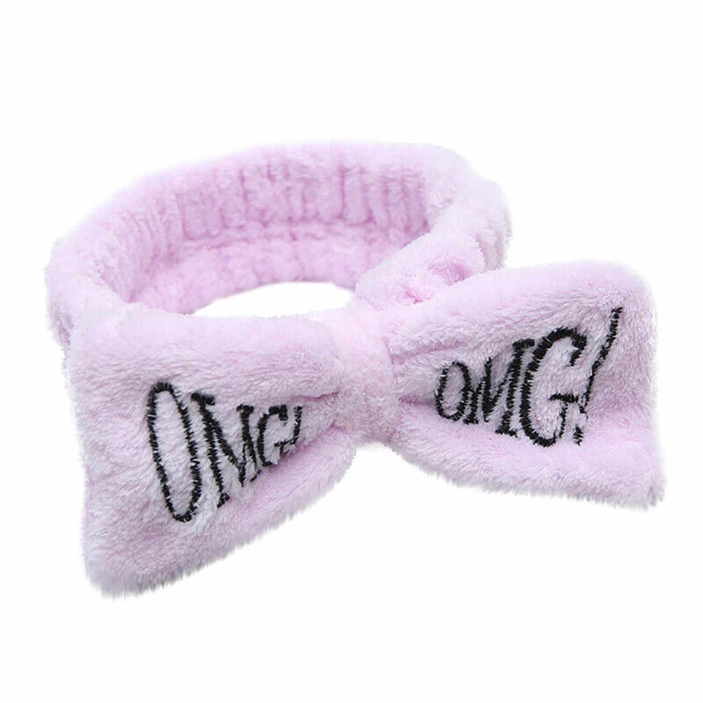 """手紙 """"omg"""" フランネルソフト弓女性ガールズターバンかわいいヘアホルダーヘアバンド帽子ヘアアクセサリー #3"""