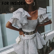 For Insider Dot print white mesh boho dress summer Pleated ruffles chiffon short party beach Off shoulder sexy mini
