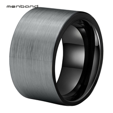12mm Big Men Ring Black Tungsten Carbide Ring Wedding Bands With Brushed Finish Ring Box Available