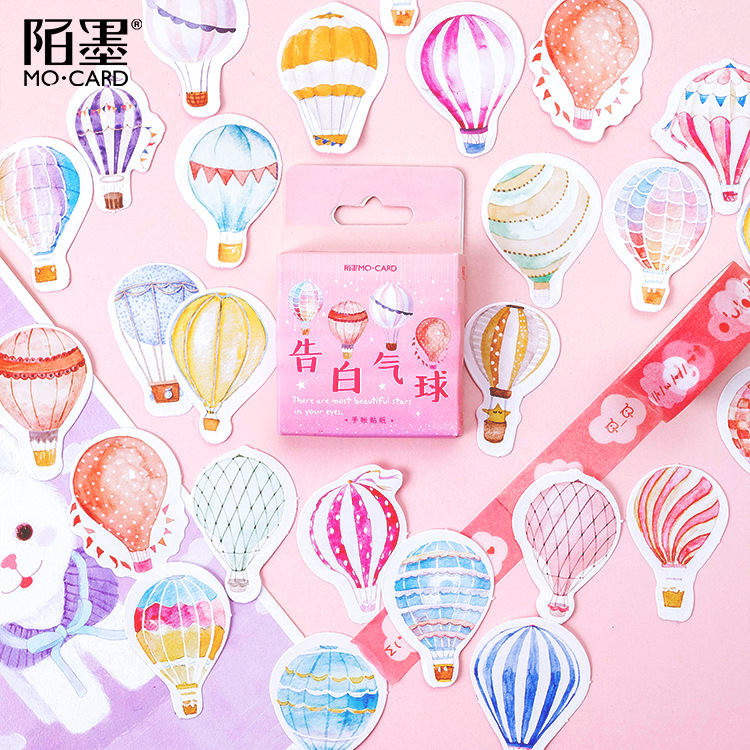 Mohamm 46 Pcs Boxed Stickers Advertising Balloons Stickers Hand Books Photo Albums Decorative Seals