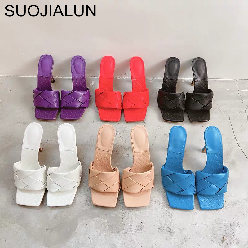 SUOJIALUN New Brand Design Women Slipper 2020 Summer Square Toe High Heel Ladies Sandal Weave High Quality Dress Shoes Slides
