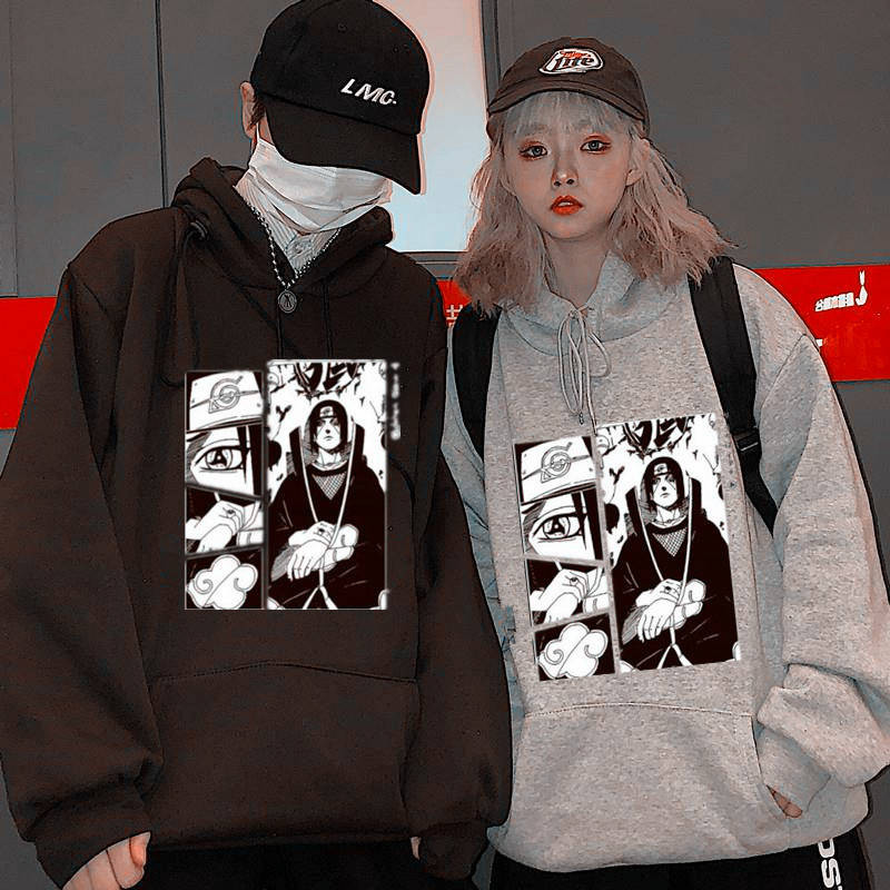 Autumn Couple Anime Naruto Hoodies Men Women Hooded Oversize Sweatshirt Casual Harajuku Cartoon Printed Tops Loose Japan Hoodies