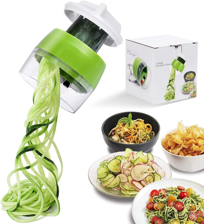 4 In 1 Handheld Spiralizer Vegetable Fruit Slicer Adjustable Grater Cutter Salad Tools Zucchini Noodle Spaghetti Maker