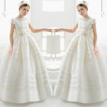 Cute Ball Gown White First Communion Dresses for Girls Satin Empire Bow Floor Length Flower Girl Dresses for Weddings Birthday