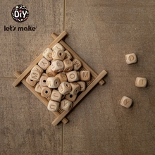 Let'S Make 200Pc Wooden Beads Square Beech Wood Alphat Engli