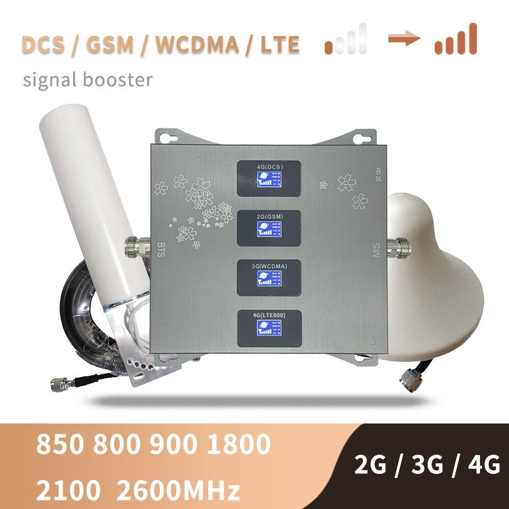 Усилитель сигнала сотовой связи 2G 3G 4G, Усилитель сотового сигнала 4G LTE Band 20 800 900 1800 2100 2600, комплект ретрансляторов сотовой связи