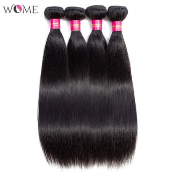 WOME Straight Hair Bundles Peruvian Hair Weave Bundles 100% Human Hair Bundles 10-26 inch Non-Remy Hair Sew-in 1/3/4 Pieces image