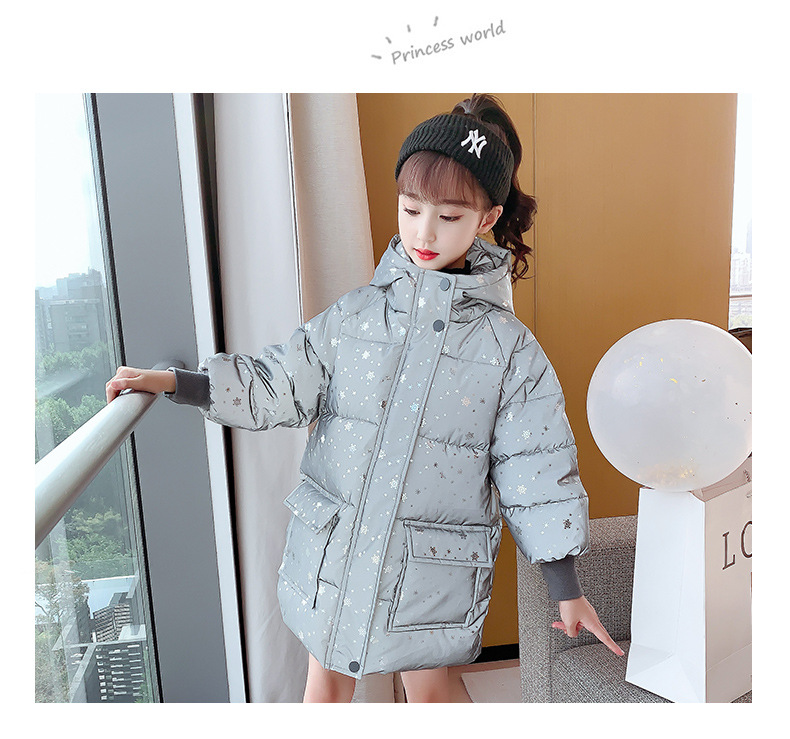 Winter New Fashion Reflective Kids Jackets for Boys Girl Children  Down Thick Hooded Warm Heavy Night Wear Outwear 6