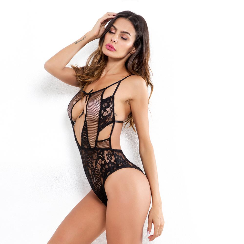 Women Sexy Sleeveless Backless Tight Bodysuit Patchwork Transparent Hollow Mesh Lace Embossed Floral Fitted Jumpsuit Slim Romper