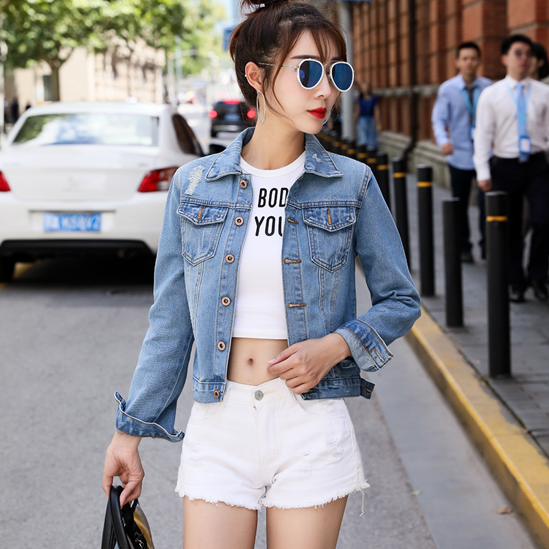 Denim   Jacket   Women 2019 Autumn Ripped Hole Jeans   Jacket   Solid Turn-down Collar   Basical     Jacket   Casual Coats Female Outwear Female