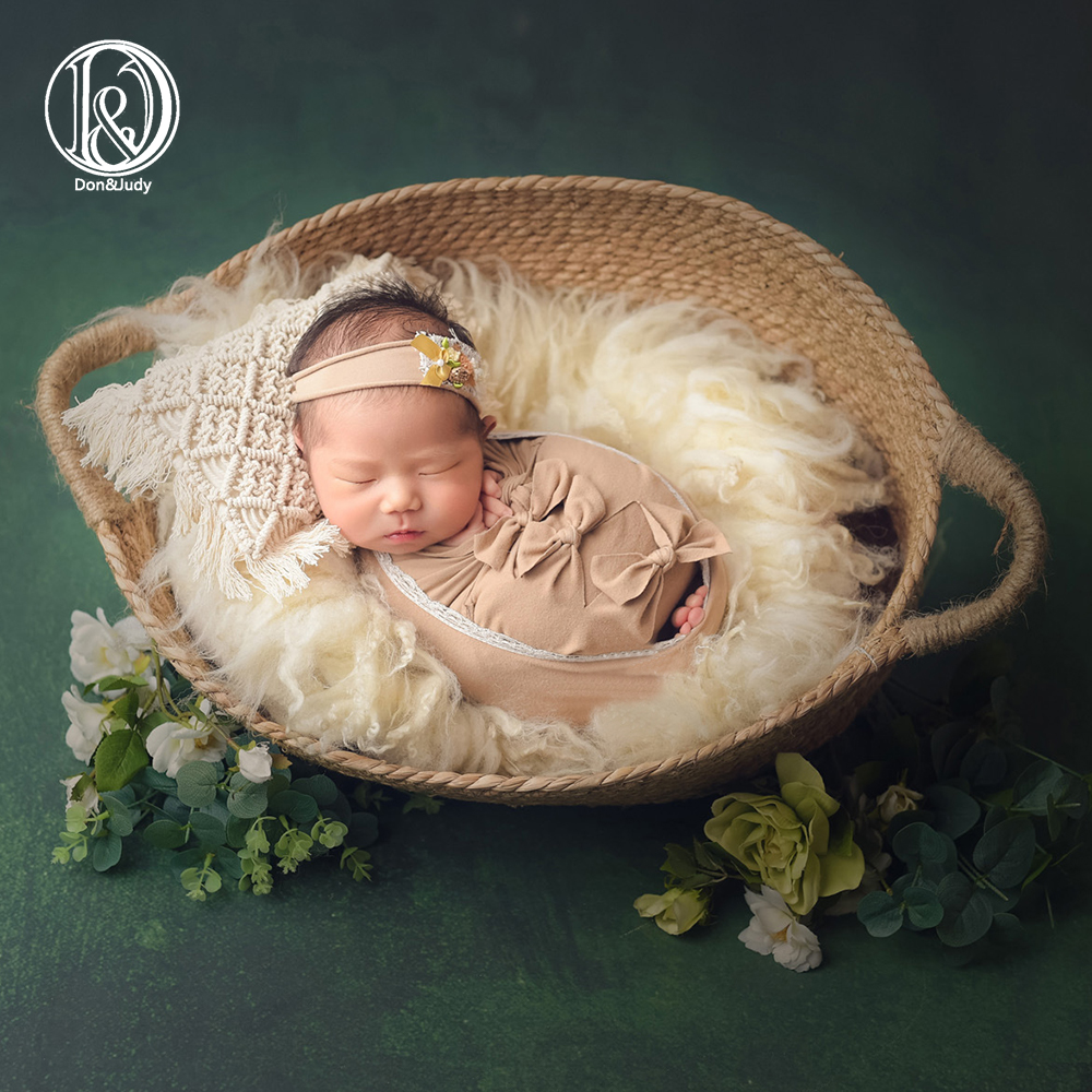 Don&Judy Newborn 7pcs/set Photography Props Infant Shooting Outfits Baby Stretch Bow Wrap Bonnet Headband Newborn Photo Shoot