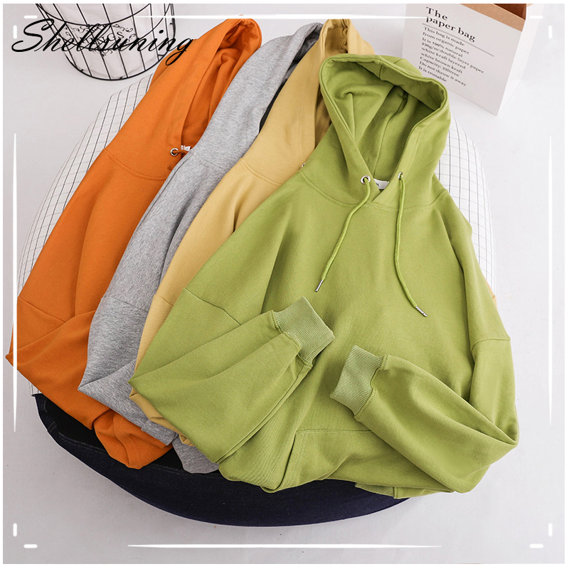 Shellsuning Solid Color Basic Cotton Hoodie Women Spring Solid Thin Soft Oversize Sweatshirt Casual Pullover  Feamle Tops