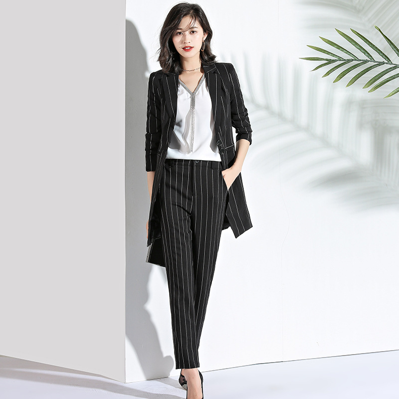Striped Women's Suit OL Professional Overalls Jacket Pants Two Sets Of Women's Fashion Office Ladies Business 2 Sets