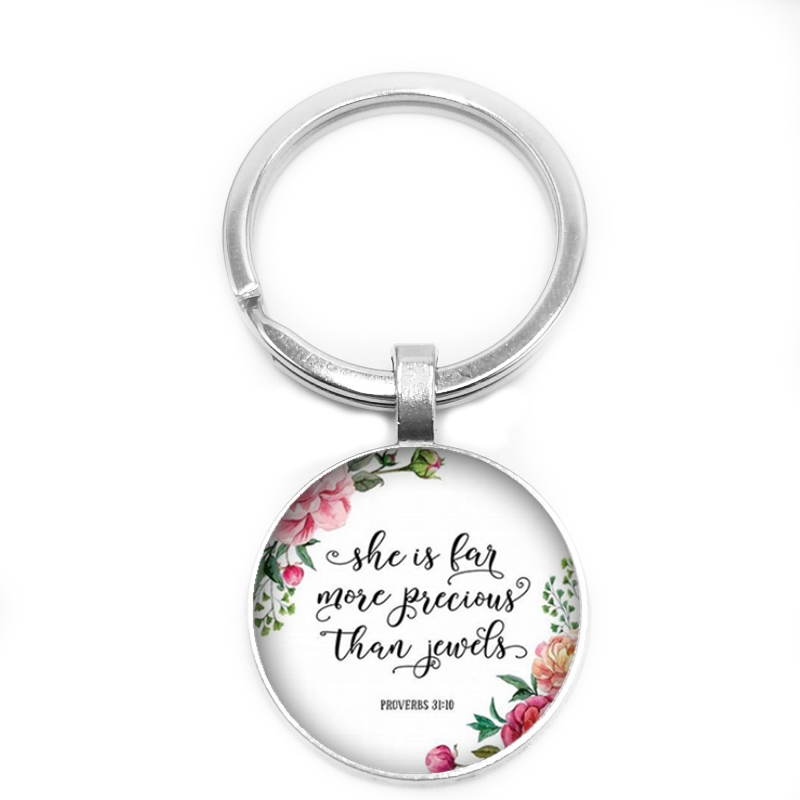 2019 New Bible Scripture Key Ring Christian Keychain 25mm Glass Convex Keyring Church Believers Gift Jewelry