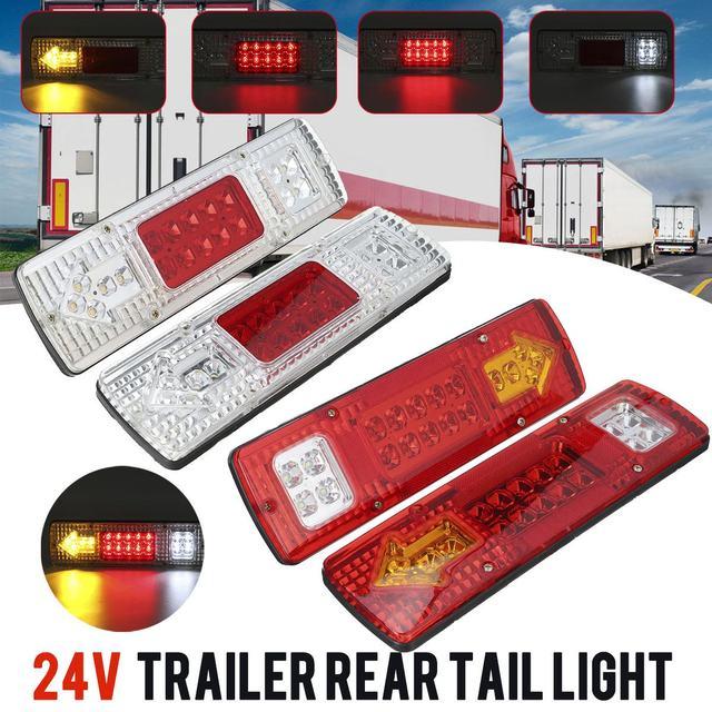 2pcs 12V 24V 자동차 트럭 테일 라이트 브레이크 라이트 턴 신호 램프 트레일러 용 리어 리버스 램프 트럭 버스 캐러밴 보트 캠핑