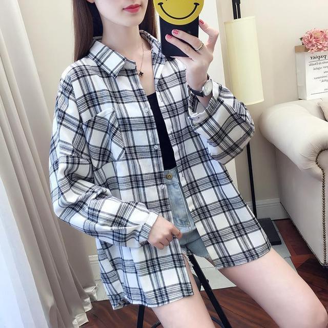 2020 fashion  summer blouse long sleeve female plaid shirt tops cotton vintage korean novelty streetwear loose 2