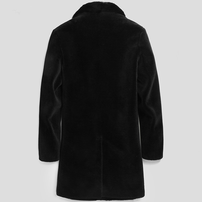 Sheep Shearling Fur Autumn Winter Jacket Men 100%Wool Coat Mink Fur Collar Long Coats Chaqueta Hombre LSY080036 MY1131