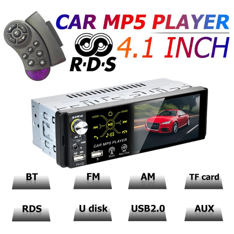 12V Car Radio 1 Din 4.1 inch Touch Screen Car In-Dash Multimedia Stereo MP5 Player Audio Bluetooth AM FM RDS Radio With/no Cam image