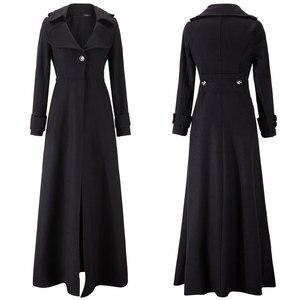 Image 2 - Kış ceket kadınlar sarkaç havalandırma paspaslamak için zemin Overlength fon yün palto rüzgarlık boy uzun siper dış giyim