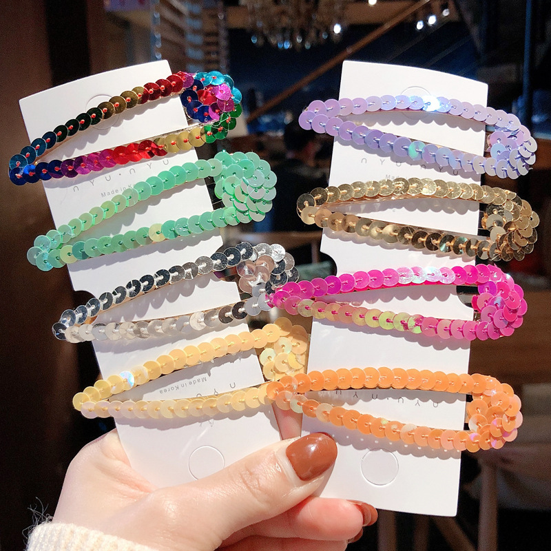 Spring And Summer New Sequin Bb Clip Japanese Korean Girl Lovely Laser Sequin Water Drop Hairpin Baby Girl Hair Pins