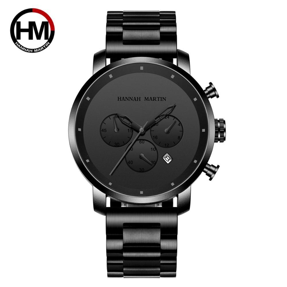 Livraison directe 2020 nouveau mouvement japonais Simple plein noir en acier inoxydable multi-fonction calendrier hommes haut de gamme montres de luxe
