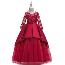 Girl  Long Graduation Dresses Children 's Wedding Lace Ball Gown Kids Party Princess for 6 8 10 12 Years
