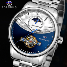 Forsining Blue Moon Phase Automatic Mens Watches Business