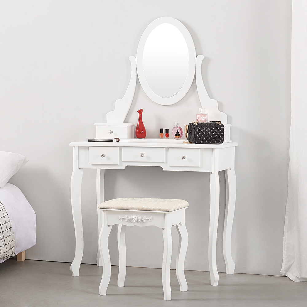 Preselling Panana Luxury Wooden Dressing Table Makeup & Stool Mirrors Jewellery Cabinet 5 Drawers 360° Spinning Mirror
