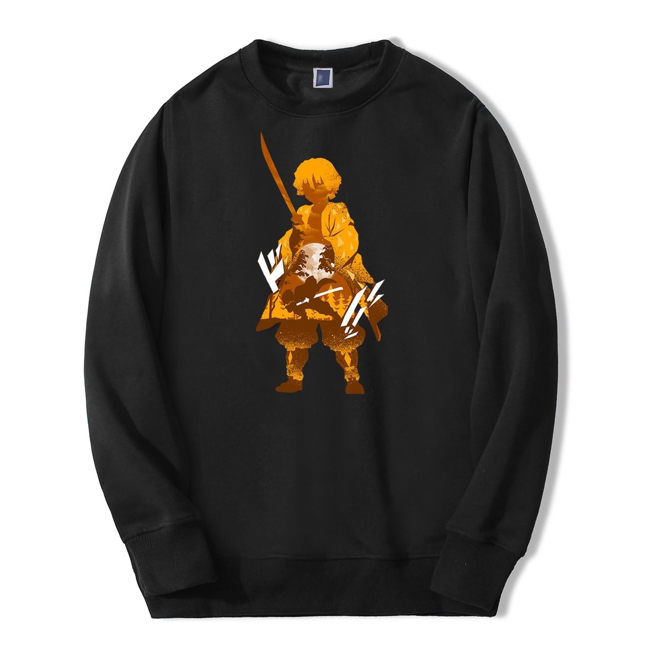 Japan Anime Demon Slayer Men Sweatshirt Hoodies 2020 Spring Autumn Casual Zenitsu Streetwear Loose Fit Hip Hop Fashoin Pullover