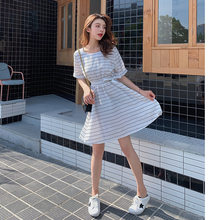 Custom 2019 New Style Korean-style Summer Loose Slim Fit Waist Hugging A- line Dress Big Skirt Short Sleeved Striped Dress F7108(China)