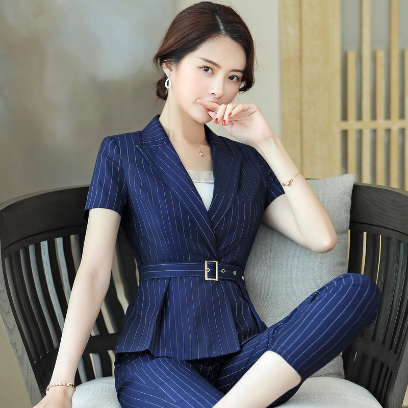 2020 Spring And Summer New Style Women Wear Half-sleeve Shirt Suit Set Elegant Fashion Small Suit Beauty Teachers College Work C
