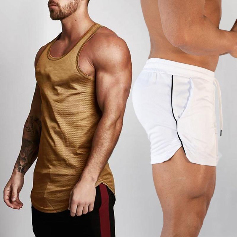2pcs Sets Tank Top+Shorts Men Summer Joggers Suits Bodybuilding Fitness Men Tracksuits Gym Clothing Streetwear Mesh Sweatpant