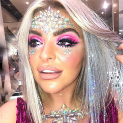 Moda Geçici Yapışkanlı Yüz göbek takısı Kadınlar Parlak Taşlar Rhinestones Göz Çıkartmalar Seksi Festivali Yaz Plaj Makyaj Mücevherleri