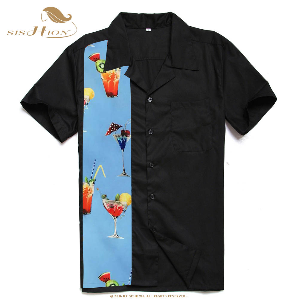 Image 4 - SISHION L 2XL Plus Size Men Shirt ST110 Short Sleeve Black Red Rockabilly Cotton Casual Bowling Shirts for Men camisa masculina-in Casual Shirts from Men's Clothing