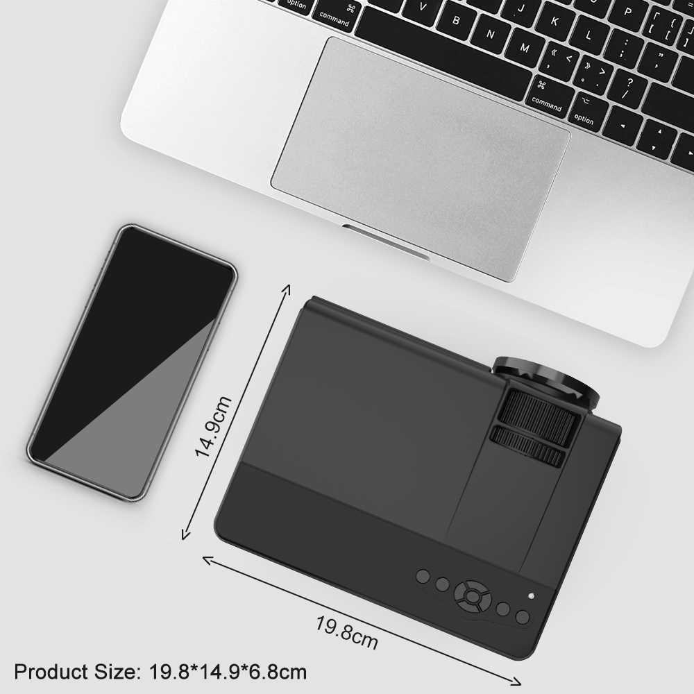 Potente Mini proyector Compatible con pantalla de 1080P y 170 ''2600L proyector de películas portátil Compatible con TV Stick, PS4, HDMI, USB