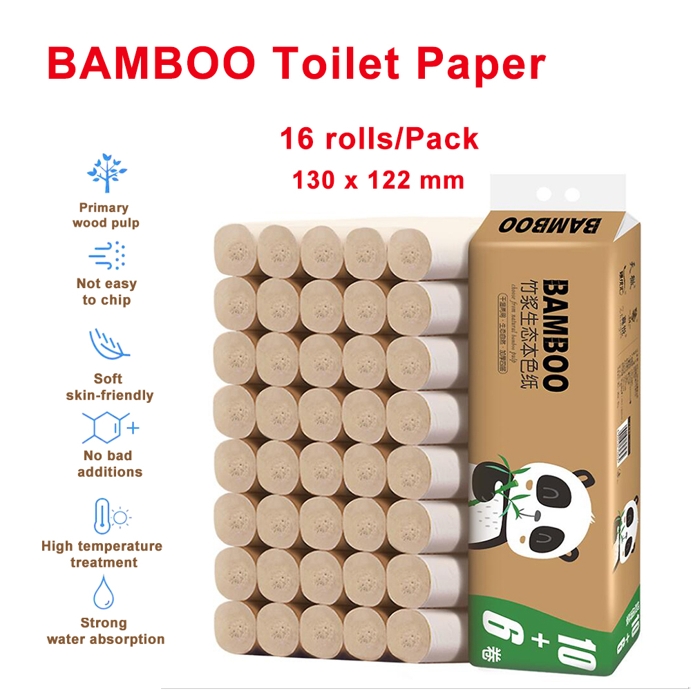 16 Rolls BAMBOO Toilet Paper Tissue Bath Tissue Bathroom 4 Ply Primary Colours