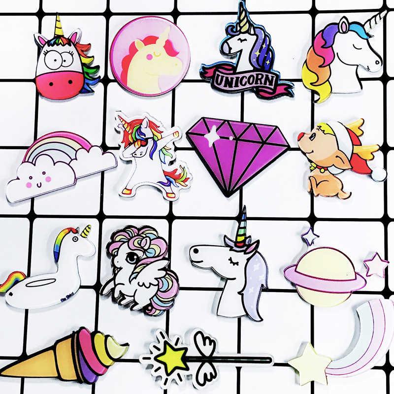 Karikatür gökkuşağı ünikorn dondurma broş rozet at kafası broş toptan Pin kadınlar takı giyim aksesuarları
