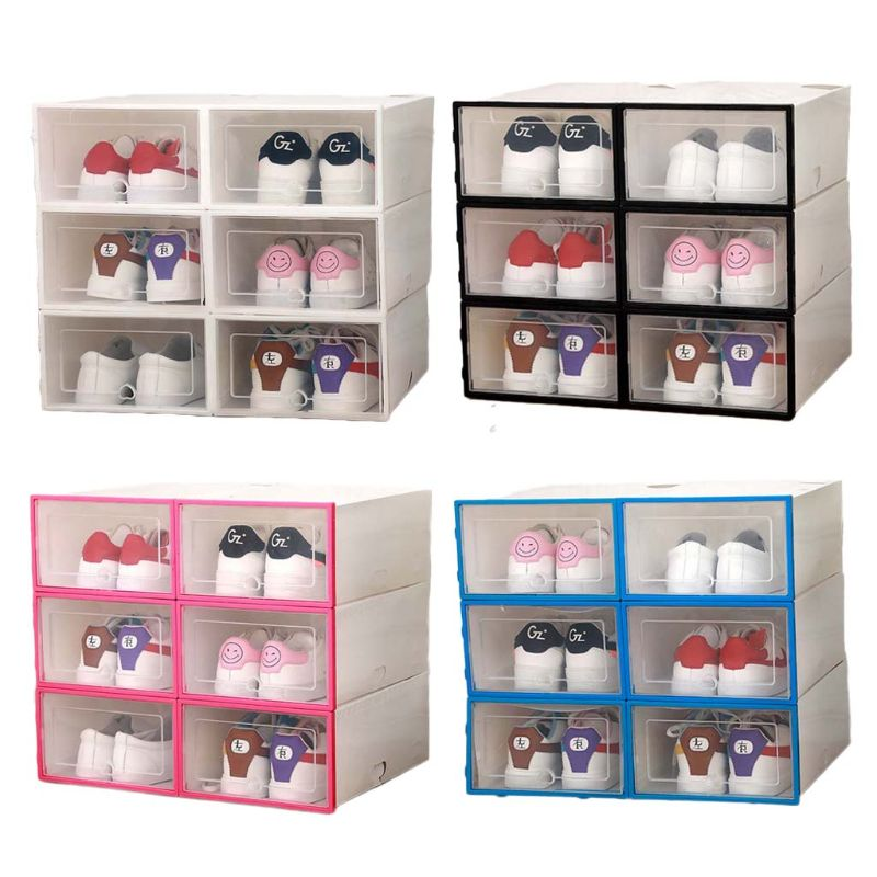 6Pcs Plastic Shoe Box Stackable Foldable Shoe Organizer Drawer Storage Case with Flipping Clear Door Ladies Men 31.5x21.5x12.5cm