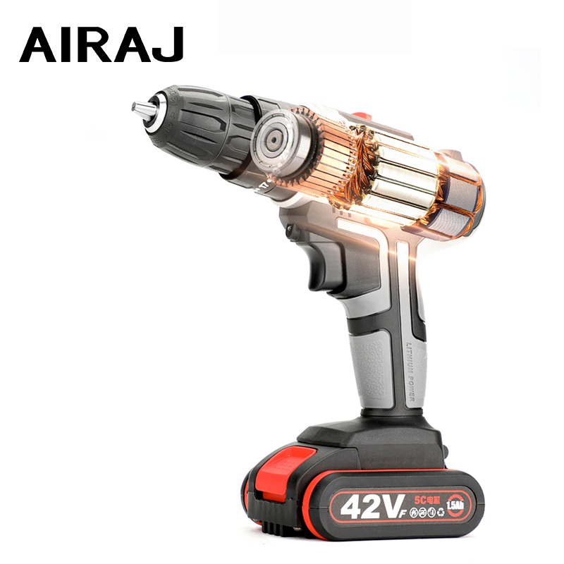 AIRAJ Impact Cordless Hand Electric Drill 42V Home Multi function Electric Screwdriver Rechargeable Lithium Electric Tool Set|Electric Drills| |  - title=