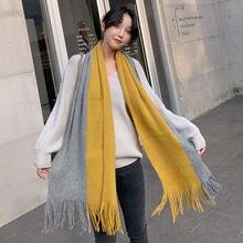 Женский зимний шарф в Корейском стиле длинный толстый двусторонний