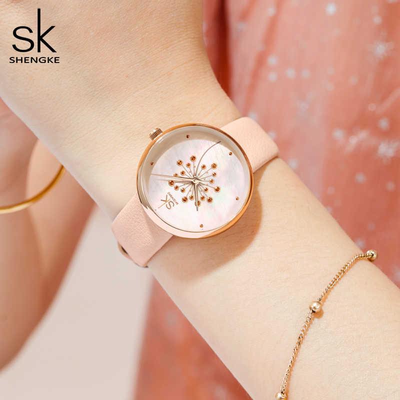 Nuevo reloj de moda Shengke para mujer, esfera de flores, piel rosa, estilo fresco, reloj de mujer joven, movimiento japonés, Montre Femme