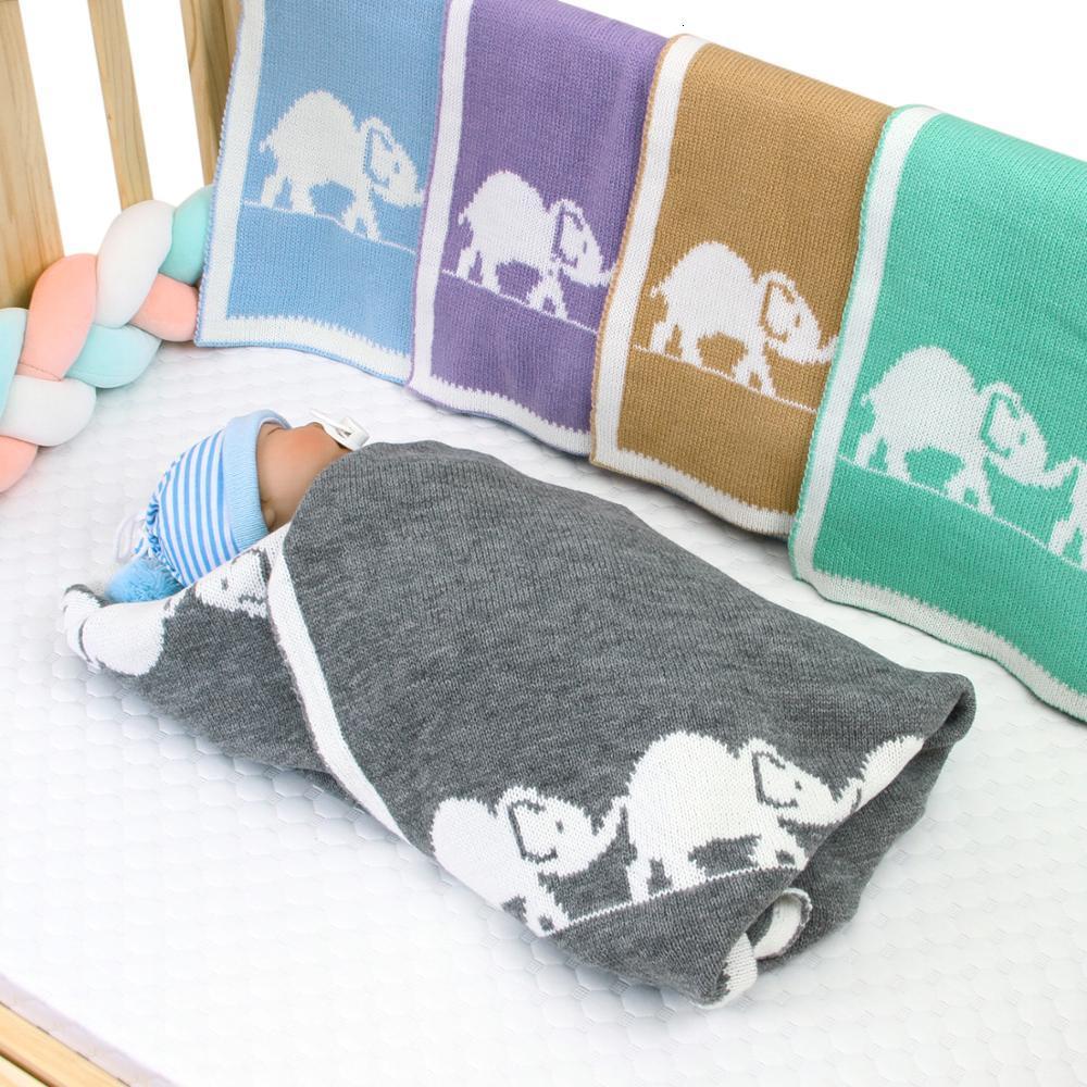 Baby Blankets Newborn Stroller Swaddle Baby Wrap Knitted Blanket For Kid Elephant Cartoon Infant Toddler Bedding Swaddling