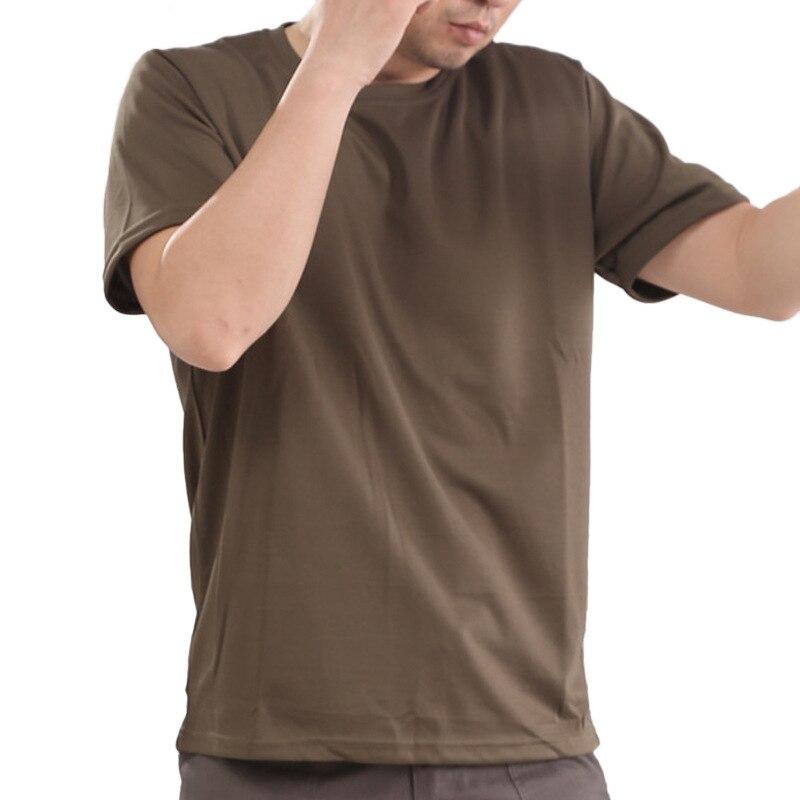 Летние мужские s Пешие прогулки быстросохнущие дышащие бионический камуфляж с коротким рукавом Футболка Открытый тактический тренировка О воротник футболки топы - Цвет: army green
