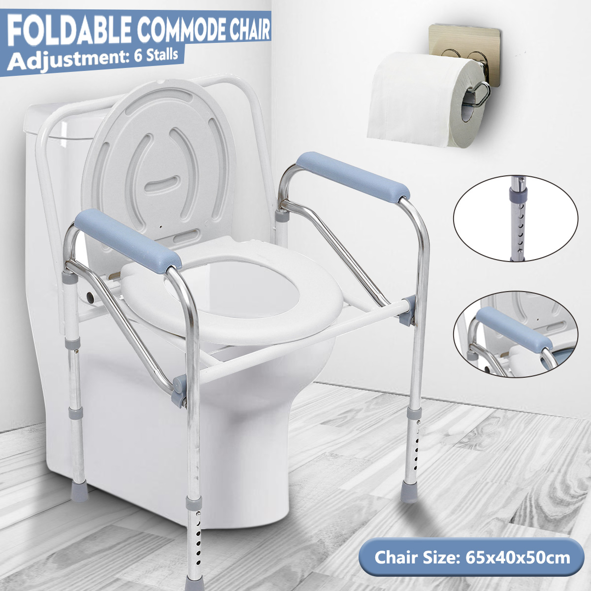 Portable Potty Chair Toilet Foldable Adjustable Commode Chair Closestool Chamber Pot For Elderly Men Women Stainless Steel