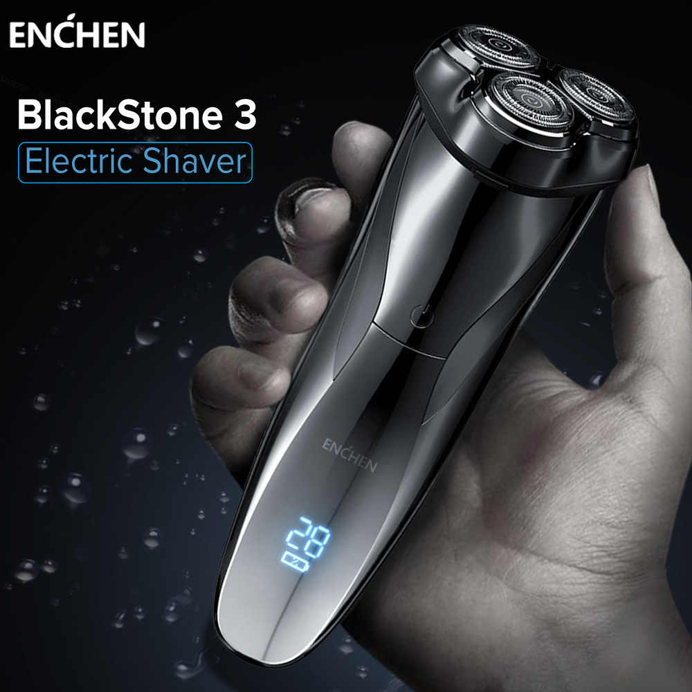 ماكينة الحلاقة الكهربائية ENCHEN ماكينة حلاقة بلاكستون 3 للرجال أداة تهذيب اللحية شفرة ثلاثية قابلة للشحن الرطب الجاف ثنائي الاستخدام