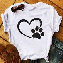 Женская графическая футболка женская 2020 меховая собачья лапа